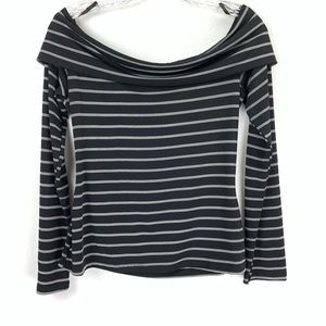 WHBM Off Shoulder Cowl Neck Striped Stretchy Top